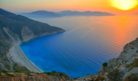griechischer strand, abendsonne